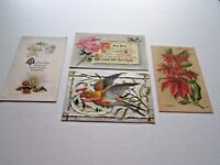 Lot of 4 Asst Vintage Antique New Year's Postcards (2) Unposted (2) Posted 1900
