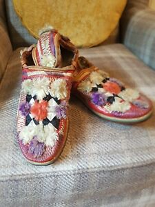 Vintage Pair Of Mongolian Slippers Hand Made
