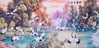 ORIENTAL ASIAN ART CHINESE FAMOUS WATERCOLOR PAINTING-Crane birds&Scenery view