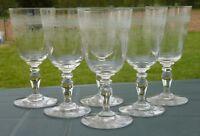 Saint Louis - Service de 6 verres à vin en cristal gravé, modèle Papin