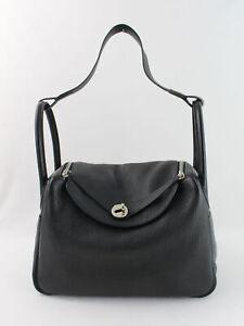 Hermes Authentic 2017 Black Taurillon Clemence Lindy 30 CM Handbag Shoulder Bag