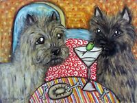 CAIRN TERRIER Drinking a Martini Dog Collectible Print 8 x 10 Signed by KSAMS