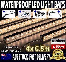4X12V Waterproof Warm White 5630 Led Strip Lights Bars Car Camping +Remote +Cig