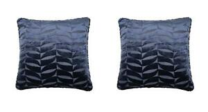 """2 X LEAF LEAVES CUT VELVET NAVY BLUE PIPED SOFT CUSHION COVERS 17"""""""