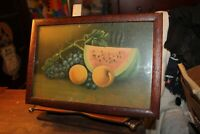 Antique Frame Lithograph Print Fruit Still Life Watermelon Grapes Peaches 9x14