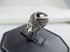 Vintage Onyx Marcasite Sterling Silver Ring Size 6 5/8 458C