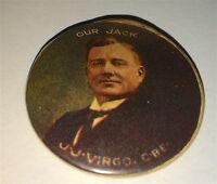 Rare Antique Australian Famous Traveler & Speaker J. J. Virgo CBE Pinback Button