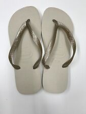 Havaianas TOP Women's Flip Flops - Size Brazilian 41/42 Metallic Beige