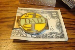 #1 DAD Money Clip Medallion Stainless Steel Enameled 3D Emblem
