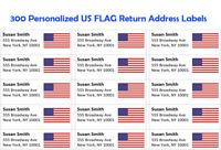 "300 -Custom Printed US FLAG  Large Return Address Labels 1"" x 2-5/8"""