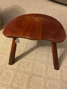 Vintage Hand Crafted Solid Cherry Wood 3 Legged Milking Stool Beautiful Seat