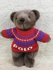 "Ralph Lauren Polo 2000 Plush Teddy Bear Red/Blue Sweater Jointed Legs EUC 14"""