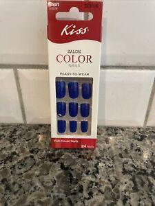 Kiss SALON COLOR Short Length Shiny Royal Blue Glue On Nails # DGK06 Bon Jour