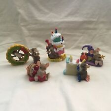 5 Charming Tails Fitz & Floyd Mouse Love & Birthday Figurines Set