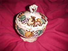Vintage Lefton #1958 Della Robbia Ceramic Pedestal Sugar Bowl? Embossed Fruit d2