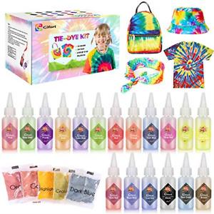 Gifort Tie Dye Kit, 18 Vibrant Colours Non Toxic Fabric Textile Paint