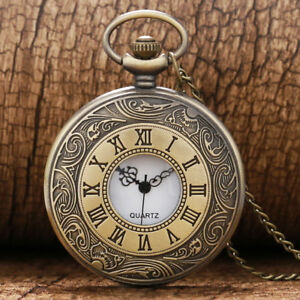 Vintage Roman Numeral Pocket Watch Quartz Analogue Watches for Men Women Chain