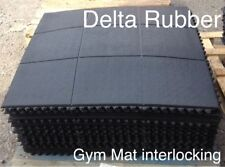 INTERLOCKING RUBBER FLOOR MATS GYM EXERCISE MAT 3'x3'(90x90cm)16mm