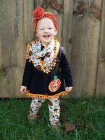 Girls' & Toddler Vintage Pom Pom Pumpkin Patch Scarf Set Outfit 2T 3T 4T 5 6 7 8
