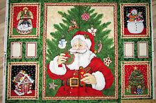 "Cookie Jar Santa Gingerbread House Christmas Fabric Panel 29""  #69009"