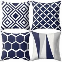 AM_ LN_ Navy Blue Geometric Pattern Pillow Case Cushion Cover Office Sofa Decor