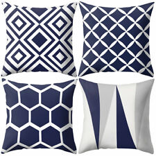 AM_ LN_ Navy Blue Geometric Pattern Pillow Case Cushion Cover Office Sofa Decor