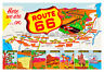 1950's Route 66 U.S. Map Colorful Vintage Poster
