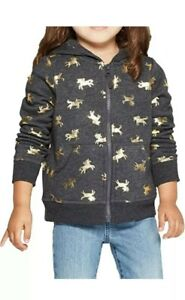 Cat & Jack TODDLER 3T Girl Gray/Gold Unicorn Hoodie Sweater with pockets