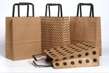 "Brown Polka Dots Kraft Thick Paper Bag Shopping Gift Bags with Handles 11""8.5""4"""