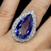 2 CT Pear Cut Tanzanite 14k  White Gold Over Diamond Double Halo Engagement Ring