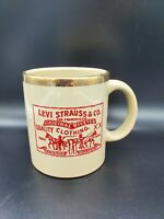 Vintage Levi Strauss Ceramic Coffee Mug Waechtersbach Spain Gold Gilt