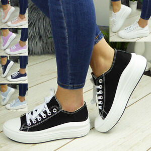 Canvas Trainers Shoes Sneakers Platform Lace Up Ladies Womens Pumps Boots Casual