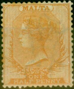 Malta 1870 1/2d Dull Orange SG7 Good Mtd Mint