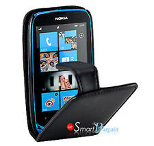Premium Black Flip Leather Case Cover for Nokia LUMIA 610 Screen Protector