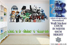 Star Wars Lego wall sticker PERSONALIZED Extra Large Childrens Bedroom decal.
