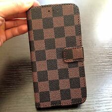 For iPhone 7+ / 8+ PLUS - Brown Checker Plaid Card Wallet Money Pouch Case Cover