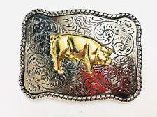 "Pig Gold And Silver belt buckle. 4 ""-2 1/2"" for 1 1/2"" belt."