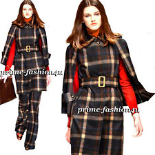 Dolce & Gabbana Runway D&G Belted Plaid Pattern Wool Cape Coat