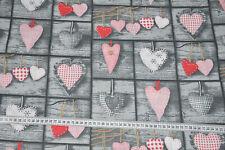 Baumwolle Herzen auf Holz 1,60m breit Webware Baumwollstoff Dekostoff