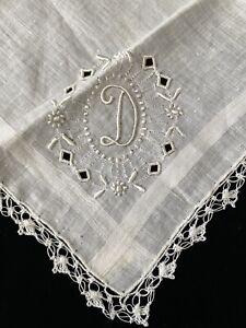 "Vintage Madeira White Monogram ""D"" Wedding Linen Handkerchief w Tags Lace"