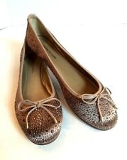 Adrienne Vittadini Taupe Cathi Beaded Ballet Flats Shoes Sz 8.5 M Women's