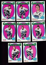 1971 Topps Team SET Lot of 8 Vancouver CANUCKS EX/MT Pat QUINN KURTENBACH  DOAK