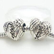 NEW 1 angel wings heart charm beadfEuropean Charm Bead fits Bracelet fr20