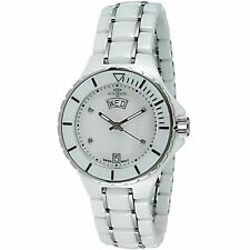 Ladies Oniss White Ceramic Band Silver Accent MOP Dial Date Watch ON8015 LDD