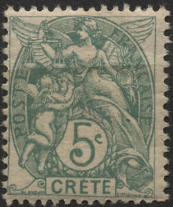 Crete (Fr. Offices) 1902 #5 5c green Liberty, Equality & Fraternity MH