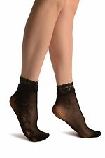 Linked Roses On The Side Black Lace Socks Ankle High (SA002974)