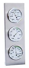 Innen- / Außen- Wetterstation analog Thermometer Hygrometer Barometer Edelstahl