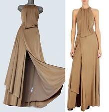 KAREN MILLEN Honey Brown Jersey Drape Slinky Cocktail Evening Maxi Dress 12 40
