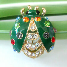 Navachi Crystal 18K GP Ladybug Bug Green Enamel Beetle Brooch Pin BH7791