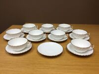 Gladstone Old Grecian Flute Bone China England Cup & Saucer (9 Sets)